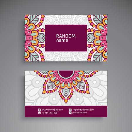 Business Card. Vintage decorative elements. Ornamental floral business cards, oriental pattern, vector illustration Stock Vector - 87777393
