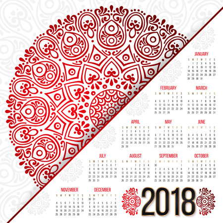 2018 calendar. It can be used for WEB or Print. Illustration