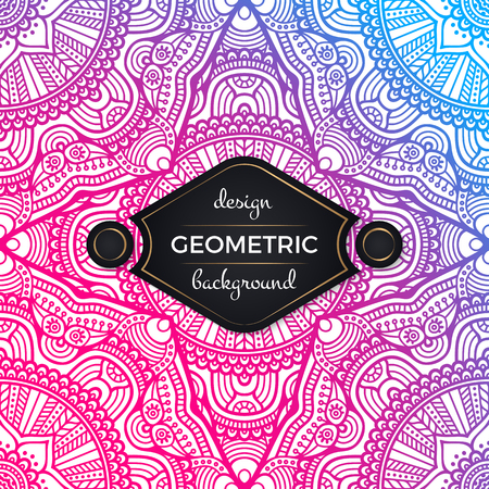 Pink with blue color ethnic floral seamless abstract pattern with mandalas geometric design background illustration for wedding use