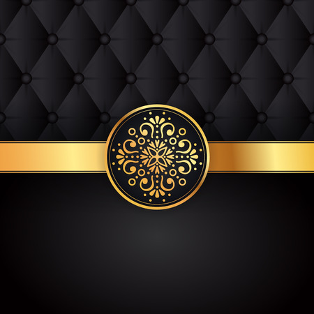 Gold black background design vector. Sun Indian pattern. Eye peacock feather frame. Oriental mandala swirl ornament for luxury wedding, beauty fashion concept