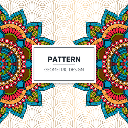 Vector indian Mandala pattern colorful background.