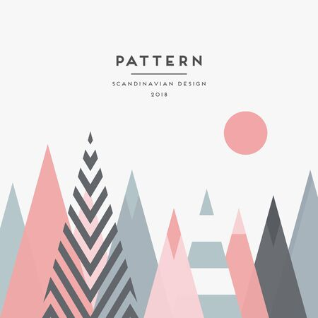 Scandinavian design pattern with pink, blue and white mountain elements 向量圖像