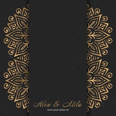 Luxury gold monogram. Vintage decorative elements. Ornamental floral business cards, oriental pattern Stock Vector - 107968445