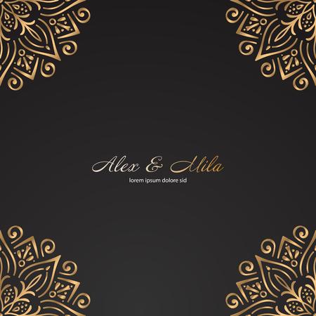 Luxury gold monogram. Vintage decorative elements. Ornamental floral business cards, oriental pattern Stock Vector - 107968585