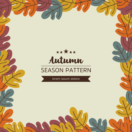Seamless geometric pattern of autumn leaves and twigs.Vector Çizim