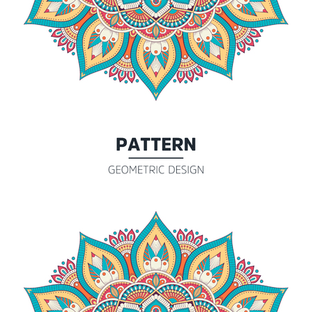 Set of Indian country ornament illustration concept. Ethnic Colorful Henna Mandala design, on festive and glitter bokeh background. Vecteurs