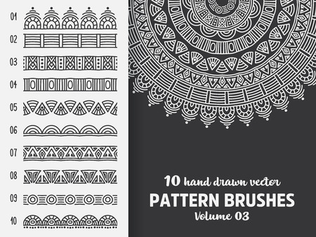 Brush collection with Mandala Stock Vector - 108334556