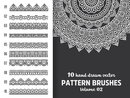 Brush collection with Mandala Vectores