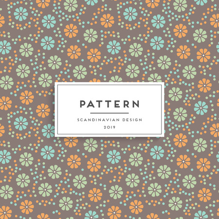 Scandinavian floral seamless pattern. Fabric print design