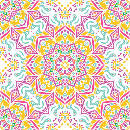 Seamless pattern tile with mandalas. Vintage decorative elements. Hand drawn background. Islam, Arabic, Indian, ottoman motifs. Perfect for printing on fabric or paper. Illustration