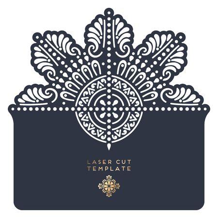 Vector wedding card laser cut template Banque d'images - 132082542