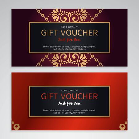 set of luxury red gift vouchers. Elegant template for a festive gift card Ilustración de vector