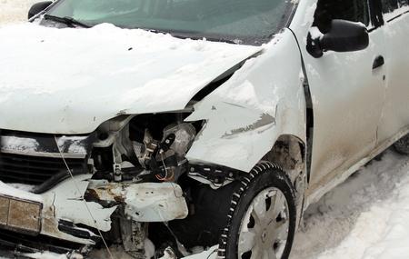 Broken car stands after the accident Reklamní fotografie