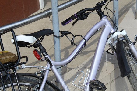 Bike chained to the city street Banco de Imagens