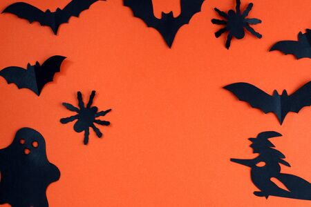 Spider, bats, ghosts. Design for festive decoration. Halloween holiday mood Stock fotó