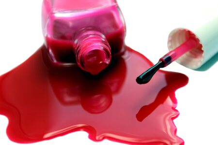 Nail polish with a red brush Banque d'images