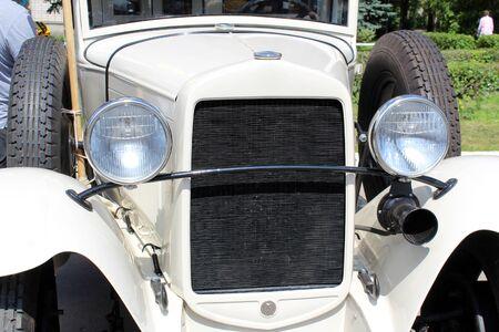 Retro car. headlight night vision antique style