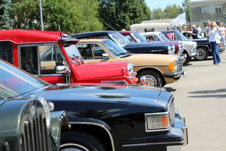 Exhibition of retro cars in the open air