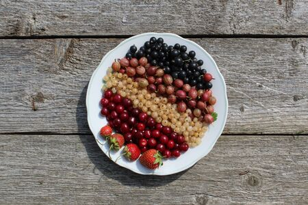 Fresh berries of white, black, currant, cherry, gooseberry and strawberry lie on the plate neatly