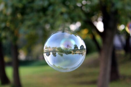 a large soap bubble in which nature is reflected