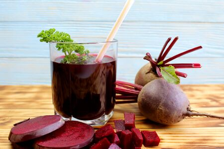 a freshly squeezed glass of healthy beetroot juice from a fresh crop