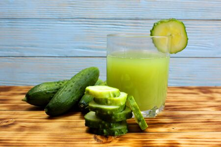 One glass of freshly squeezed cucumber juice Stock Photo