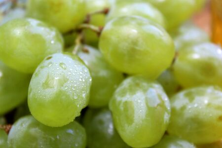 bunch texture fresh green grape background vintage Stock Photo