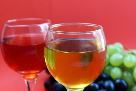 two glasses of wine from different grape varieties
