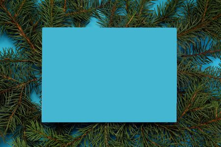frame made of fir branches on a blue background Banque d'images - 130509064