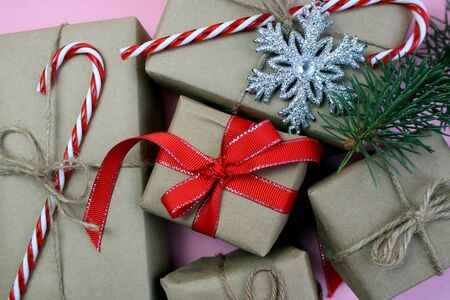 boxes of wrapped gifts are waiting for their recipients Stock fotó