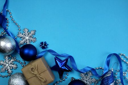 texture christmas mood in blue and silver colors with a place for an inscription
