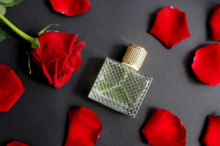 Perfume bottle on a black background with rose petals