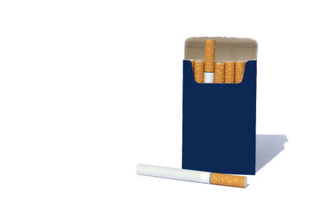 Open pack with cigarettes on a white background Archivio Fotografico