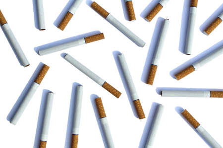 Texture lined of cigarettes on white background Stock Photo