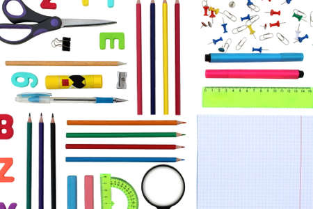 Background lined on white background neat school supplies
