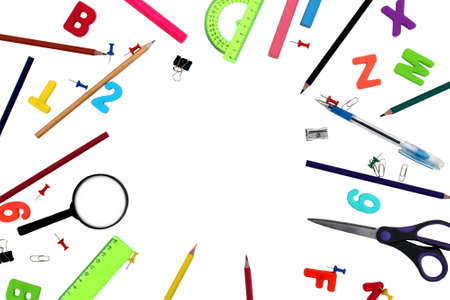 School theme with place for an inscription on a white background Stock Photo - 155928518