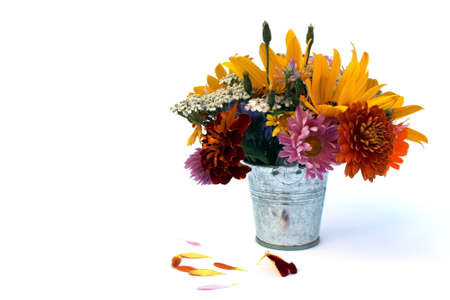 A bouquet of different flowers stands in a small decorative bucket on a white background Stock Photo