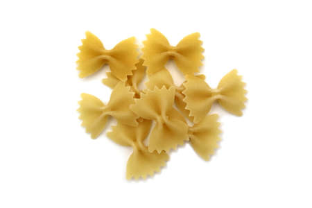 Pasta in the form of a bow on a white background