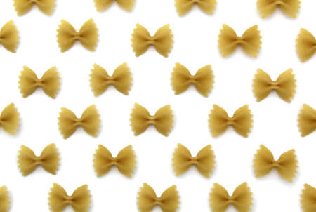 Texture of pasta in the form of a bow on a white background Archivio Fotografico