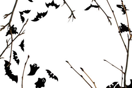 Halloween card with branches, bats and place for text