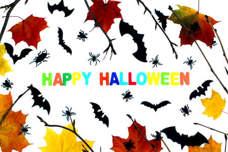 Lettering happy halloween with decoration on white background Stock Photo
