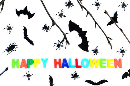 Halloween theme, twigs, bat silhouette, autumn leaves and happy halloween lettering Stock Photo