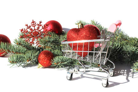 decorative trolley stands with heart shaped Christmas tree decorations