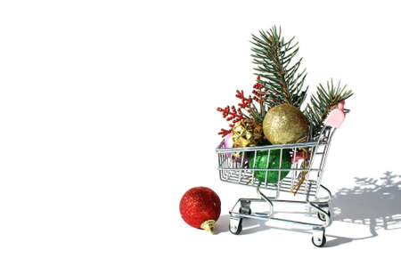 Decorative stands for trolleys with christmas tree decorations on white background