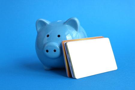 Blue piggy bank pig stands on a blue background with credit cards Reklamní fotografie