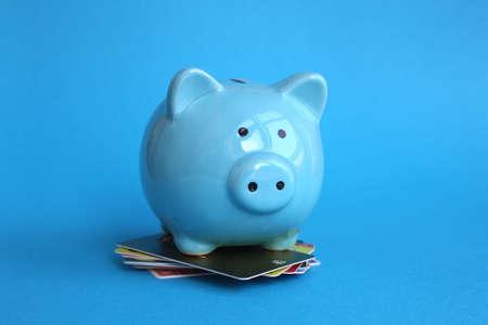 Blue piggy bank pig stands on plastic cards on blue background