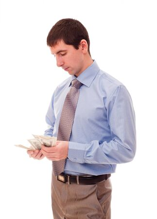 young man counts the money Stock Photo