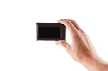 compact digital camera in the hand Stock Photo