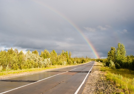 rainbow  on highway Stock Photo