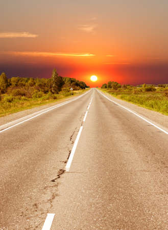 road to sunset Stock Photo